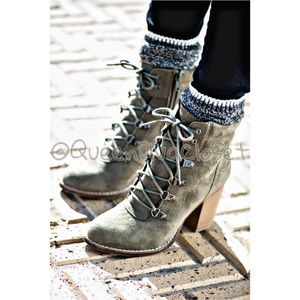 Olive army green faux suede lace up ankle boots
